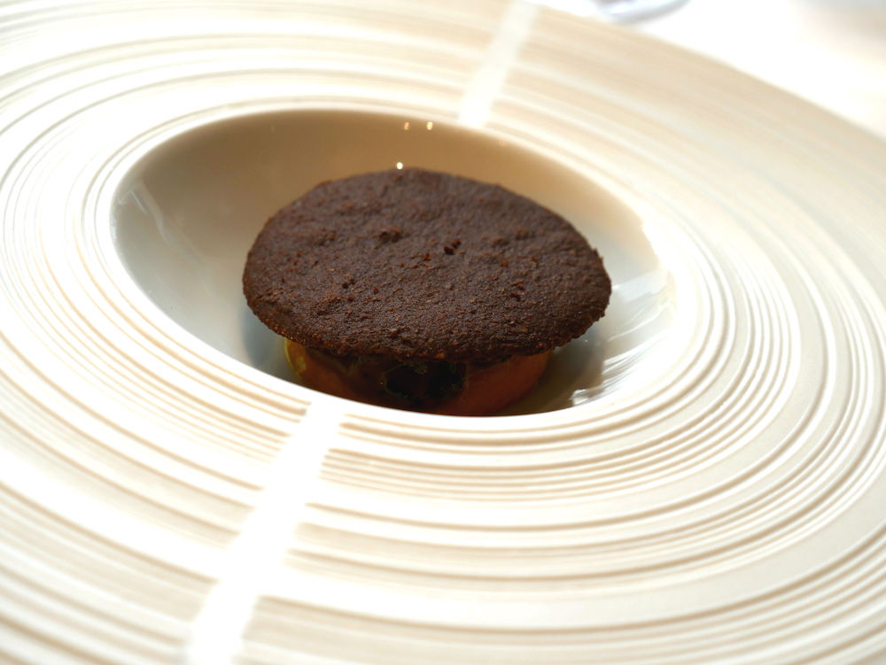 Hautes Exigences LMDL- Restaurant Étude Paris 16 - Mise en Bouche Oursin, Carotte Safran & Sablé Cacao