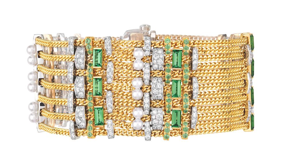 CHANEL Haute Joaillerie - Bracelet TWEED CHAÎNE en or jaune, platine, perles de culture, tsavorites et diamants