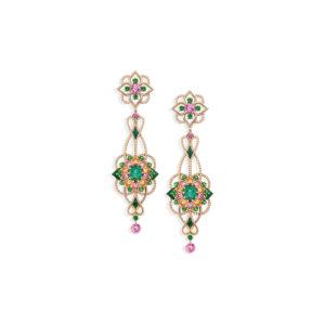 MELLERIO - BO Giardino - Tourmaline bleu-vert (3,43 carats), tsavorites (1,21 carat), saphirs roses (0,67 carat), grenats spessartites (0,75 carat), diamants (2,74 carats), Émail vert et Or Rose