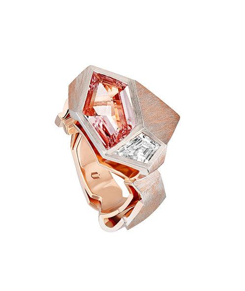 NUUN - Manifesto Bague Origami - Morganite, Diamant, Or blanc et Or Rose