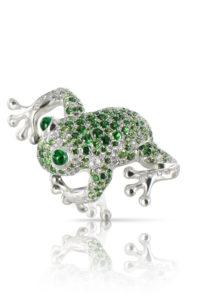 PASQUALE BRUNI- Bague Collection Animalier en Or Blanc, Grenat Tsavorite, Émeraudes et diamants