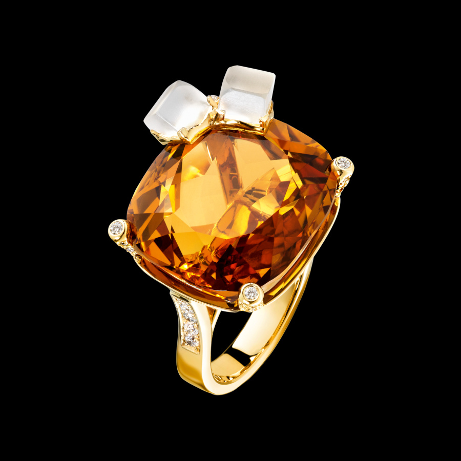 PIAGET - Bague Limelight inspiration Cocktail Whisky on the rocks - Or Jaune, Citrine et Diamants 2016)