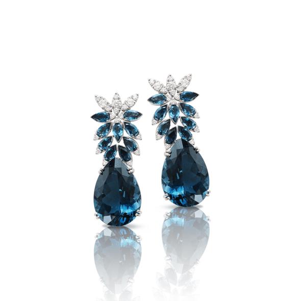 Pasquale Bruni - Boucle d'Oreilles Ghirlanda Topaze Blue London, Diamants et Or Blanc