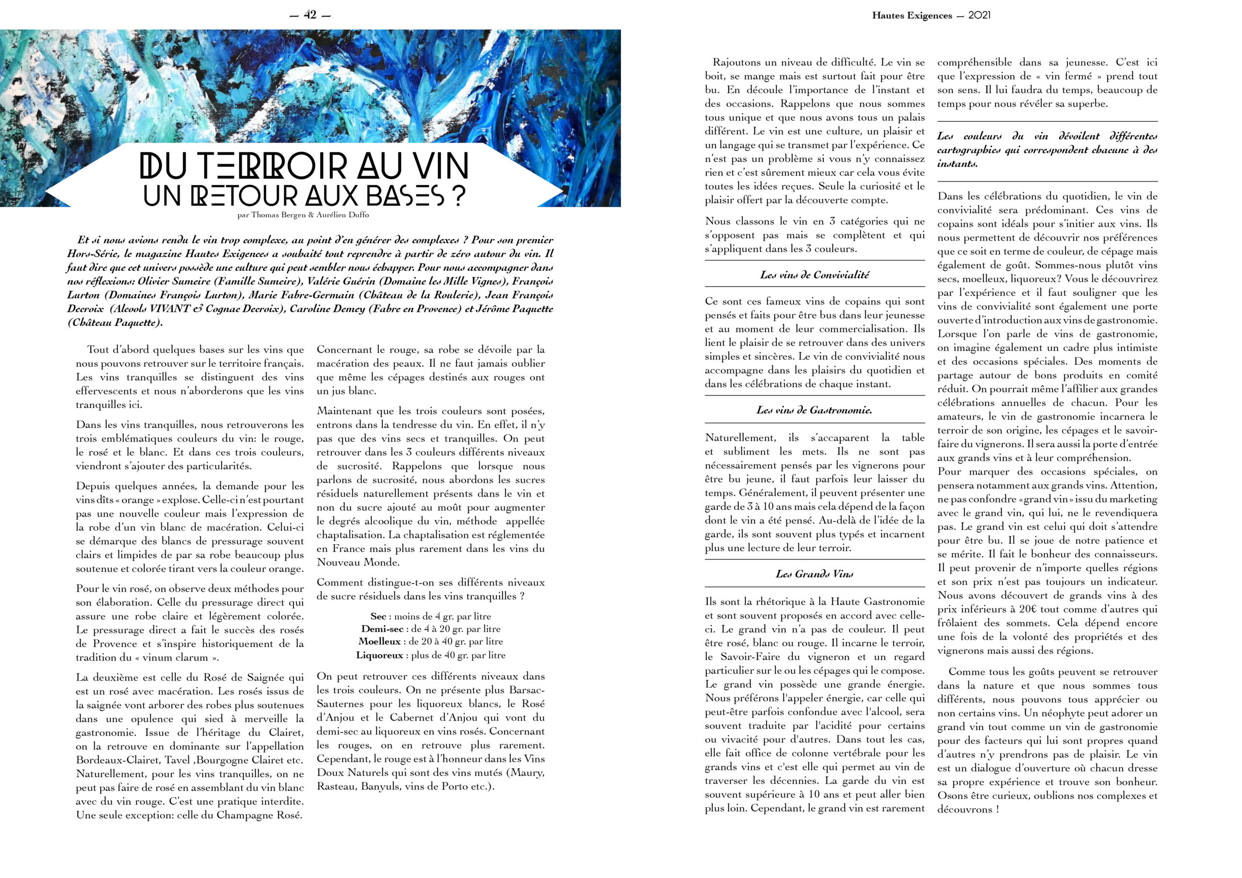 Hautes Exigences Magazine Hors Serie 2021 page 42-43