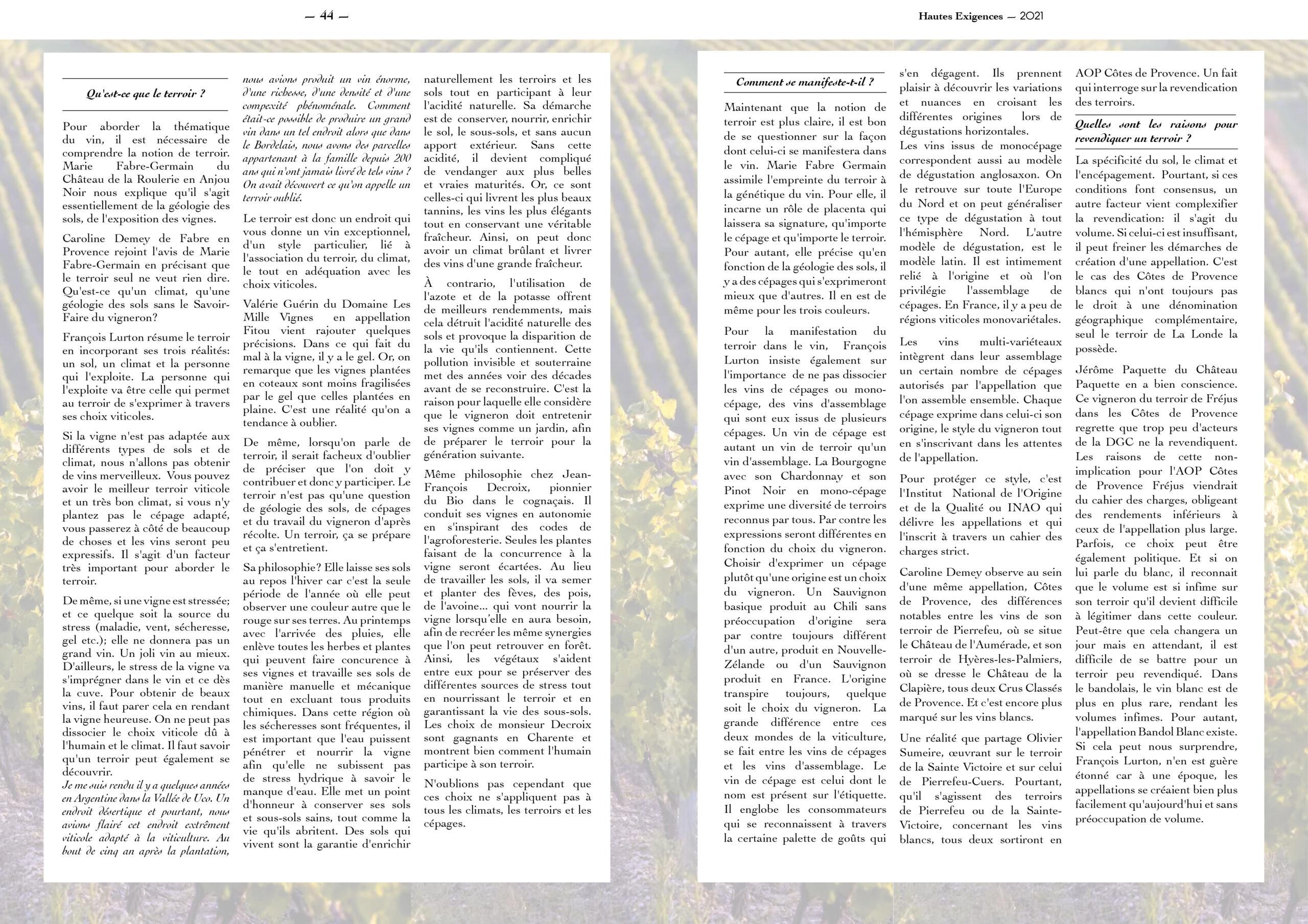 Hautes Exigences Magazine Hors Serie 2021 page 44-45
